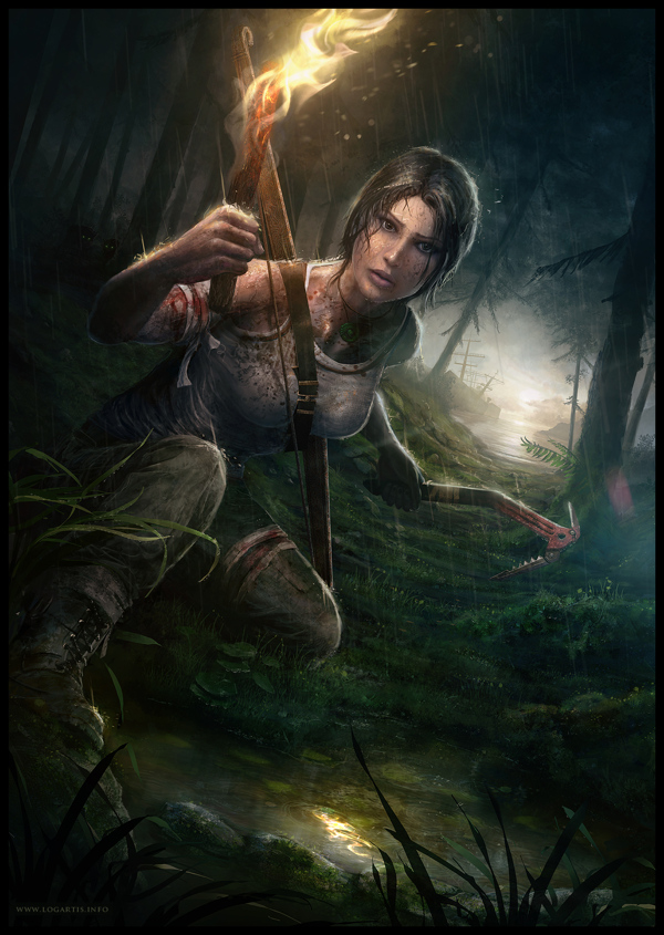 lara croft digital art